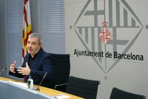 Jaume Collboni, en rueda de prensa en el Ayuntamiento de Barcelona