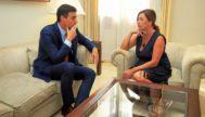 El presidente del Gobierno en funciones, Pedro Sánchez, con la presidenta balear, Francina Armengol, ayer en el Consolat.