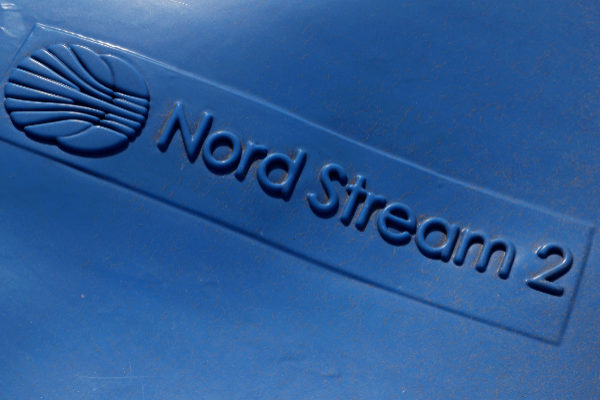 FILE PHOTO: The logo of the Nord Stream 2 gas pipeline project is seen...