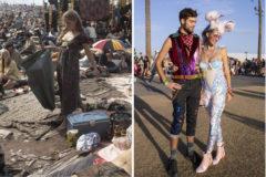 Festival de Woodstock (1969) y dos festivaleros en Coachella Valley (2019)