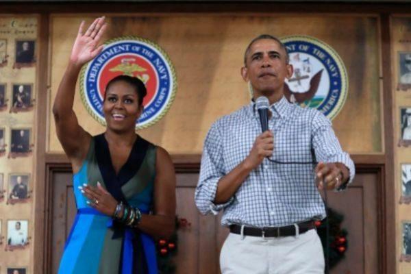 Barack Obama junto a su mujer, Michelle, durante su etapa presidencial...