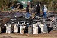 Imagen del asentamiento chabolista de Lepe tras uno de los incendios sufridos en la zona, este pasado enero.