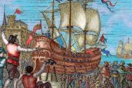 Grabado de la llegada de los sobrevivientes de la expedición Magallanes-Elcano.