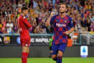 Rakitic celebra el gol del triunfo del Barça en Miami.