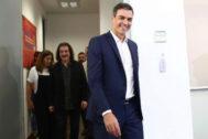 Pedro Sánchez, tras reunirse con la Asociación de Artistas e Intérpretes.