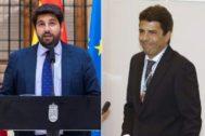 El presidente de Murcia, Fernando López Miras (i) y el presidente de la Diputación, Carlos Mazón.