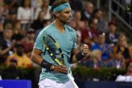 Nadal celebra un punto durante el partido que disputó contra Fognini.