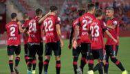 Los jugadores del Mallorca, tras marcar el 1-0.
