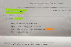 Hoja de citación que recibió un paciente el pasado 3 de julio cuando solicitó una consulta con el neurólogo en un hospital de la Comunidad Valenciana.