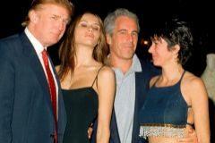 Una foto de archivo de Trump y Epstein, junto a Ghislaine Maxwell.