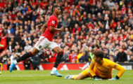 "Soccer Football - Premier League - Manchester United v Chelsea - Old Trafford, Manchester, Britain - August 11, 2019 Manchester United's Marcus <HIT>Rashford</HIT> celebrates scoring their third goal as Chelsea's Kepa Arrizabalaga looks dejected Action Images via Reuters/Jason Cairnduff EDITORIAL USE ONLY. No use with unauthorized audio, video, data, fixture lists, club/league logos or ""live"" services. Online in-match use limited to 75 images, no video emulation. No use in betting, games or single club/league/player publications. Please contact your account representative for further details"
