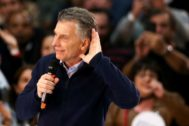 Argentine President <HIT>Mauricio</HIT> <HIT>Macri</HIT> attends a rally, in Buenos Aires