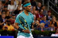 Aug 9, 2019; Montreal, Quebec, Canada; Rafael <HIT>Nadal</HIT> of Spain reacts after winning a point in his match against Fabio Fognini of Italy (not pictured) during the Rogers Cup tennis tournament at Stade IGA. Mandatory Credit: Eric Bolte-USA TODAY Sports