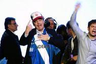 Alberto Fernández celebra su victoria en las primarias presidenciales.