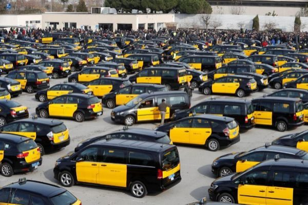Imagen de la última huelga de taxis en Barcelona, el pasado enero.