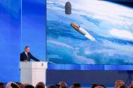 El presidente ruso, Vladimir Putin, pronuncia su discurso anual ante la Asamblea Federal de Rusia.