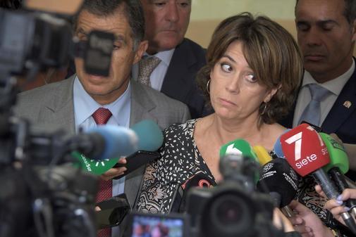 La ministra de Justicia en funciones, Dolores Delgado, en un acto...