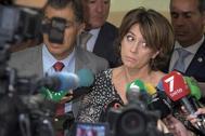 La ministra de Justicia en funciones, Dolores Delgado, en un acto celebrado la pasada semana en Cádiz.
