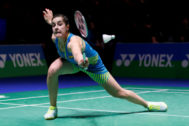 Badminton - Yonex All England Open Badminton Championships - Arena Birmingham, Birmingham, Britain - March 15, 2018 Spain's <HIT>Carolina</HIT> <HIT>Marin</HIT> in action during the women's singles second round Action Images via Reuters/Peter Cziborra - RC1D53651850