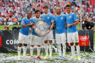 FILE PHOTO: FA Community Shield - <HIT>Manchester</HIT> <HIT>City</HIT> v Liverpool FILE PHOTO: Soccer Football - FA Community Shield - <HIT>Manchester</HIT> <HIT>City</HIT> v Liverpool - Wembley Stadium, London, Britain - August 4, 2019 <HIT>Manchester</HIT> <HIT>City</HIT>'s Raheem Sterling, David Silva, John Stones, Kyle Walker and Rodri pose as they celebrate winning the FA Community Shield with the trophy REUTERS/David Klein/File Photo