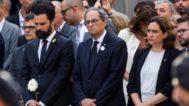 Roger Torrent, Quim Torra y Ada Colau durante el primer homenaje a las víctimas