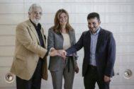 Plácido Domingo, Susana Lloret y Vicent Marzà en el Palau de les Arts de Valencia.