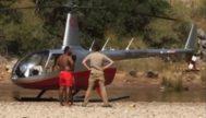 El helicóptero que ha aterrizado en el Torrent de Pareis.