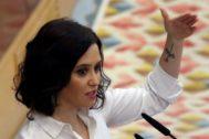 La candidata del PP a presidir la Comunidad de Madrid, en la Asamblea este miércoles.