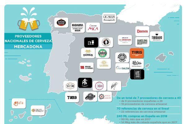Mapa de los proveedores de cerveza de Mercadona elaborado por la compañía.