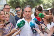 El portavoz del Gobierno de la Junta, Elías Bendodo, este miércoles en Málaga.