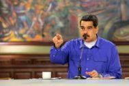 Nicolás Maduro asiste a un mitin en el Palacio de Miraflores, en Caracas.