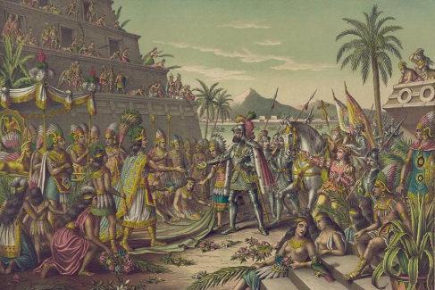 'Llegada de Hernán Cortés a México'; litografía de los impresores  Kurz & Allison de finales del sigloXIX.