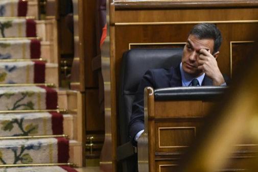 Pedro Sánchez, el pasado febrero, en el debate del Proyecto de Ley...