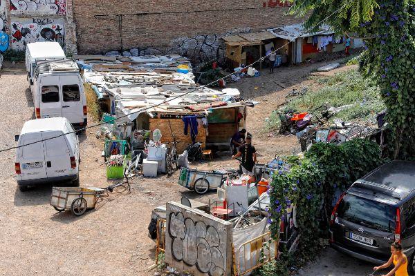 Barracas en uno de los asentamientos dispersos por el barrio de Poblenou de Barcelona