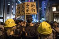 Manifestación de activistas prodemocracia en Hong Kong.