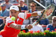 Montreal (Canada).- Roberto <HIT>Bautista</HIT> Agut of Spain in action against Gael Monfils of France during their quarter-final match at the Rogers Cup tennis tournament in Montreal, Canada, 10 August 2019. (Tenis, Francia, España) EPA/