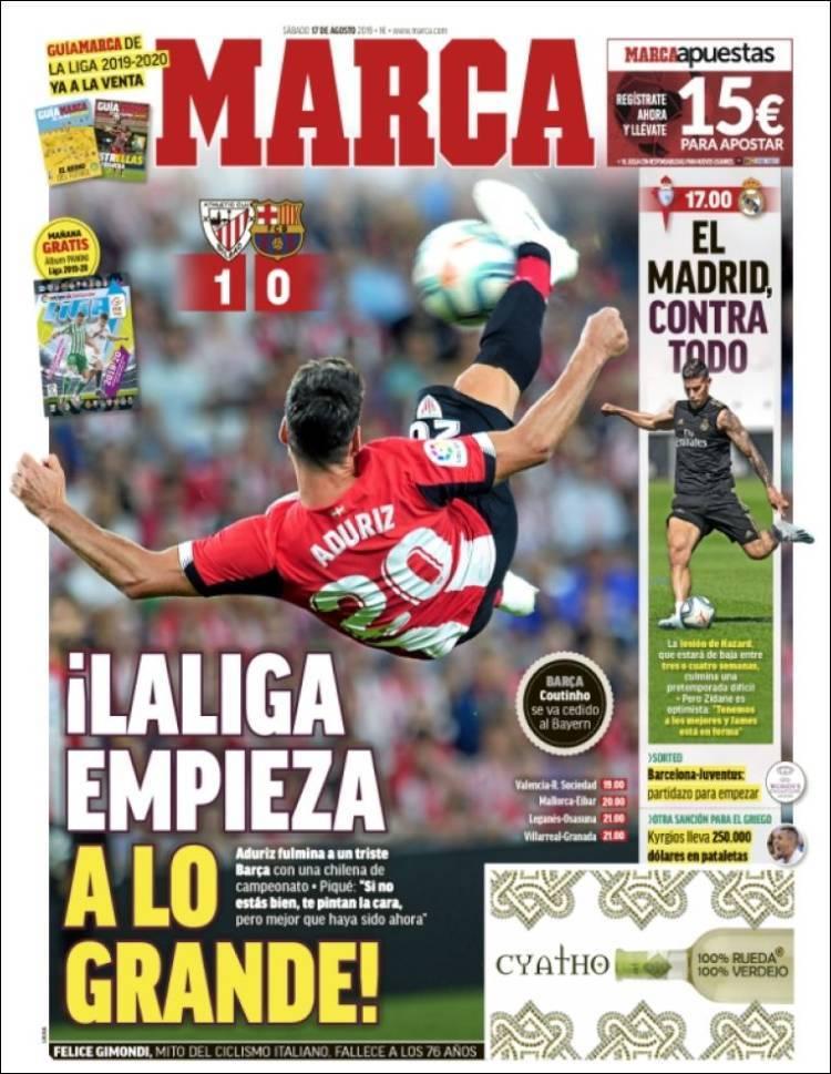 Las portadas de los periódicos deportivos del 17 de agosto