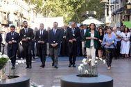 17 Agosto 2019 - Cataluña - Barcelona - Rambla - Ofrenda de claveles blancos con motivo de segundo any del atentado en las Ramblas - Autoridades - Foto <HIT>Marga</HIT> <HIT>Cruz</HIT>