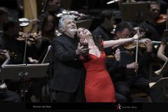 Plácido Domingo y Ermonela Jaho en una actuación en el Teatro Real.