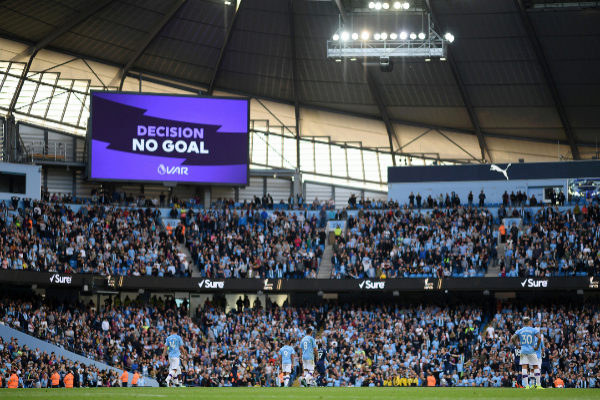 MANCHESTER, ENGLAND - AUGUST 17: The big screen shows the VAR decision of No Goal for Gabriel Jesus of Manchester <HIT>City</HIT> third goal during the Premier League match between Manchester <HIT>City</HIT> and Tottenham Hotspur at Etihad Stadium on August 17, 2019 in Manchester, United Kingdom. (Photo by Shaun Botterill/Getty Images)