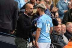 Manchester (United Kingdom).- Manchester City's Sergio Aguero (r) reacts with manager Pep <HIT>Guardiola</HIT> after being substituted during the English Premier League soccer match between Manchester City and Tottenham Hotspurs at the Etihad Stadium in Manchester, Britain, 17 August 2019. (Reino Unido) EPA/ EDITORIAL USE ONLY. No use with unauthorized audio, video, data, fixture lists, club/league logos or 'live' services. Online in-match use limited to 120 images, no video emulation. No use in betting, games or single club/league/player publications