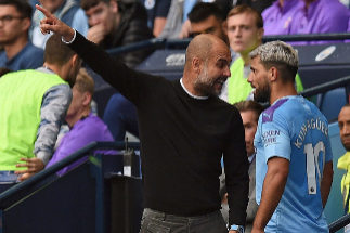Manchester City's Argentinian striker Sergio <HIT>Aguero</HIT> (R) talks with Manchester City's Spanish manager Pep <HIT>Guardiola</HIT> as he is substitued off during the English Premier League football match between Manchester City and Tottenham Hotspur at the Etihad Stadium in Manchester, north west England, on August 17, 2019. (Photo by Oli SCARFF / AFP) / RESTRICTED TO EDITORIAL USE. No use with unauthorized audio, video, data, fixture lists, club/league logos or 'live' services. Online in-match use limited to 120 images. An additional 40 images may be used in extra time. No video emulation. Social media in-match use limited to 120 images. An additional 40 images may be used in extra time. No use in betting publications, games or single club/league/player publications. /