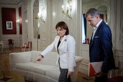 Isabel Bonig y Toni Cantó, antes de una reunión.