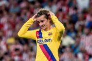 GRAF7107. BILBAO (BIZKAIA), 16/08/2019.- El delantero francés del FC Barcelona Antoine <HIT>Griezmann</HIT> durante el encuentro de la primera jornada de LaLiga Santander 2019-2020 que Athletic de Bilbao y F.C.Barcelona juegan este viernes en San Mamés.