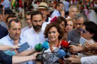 La vicepresidenta del Gobierno en funciones, Carmen Calvo, en la feria de Málaga el pasado sábado.