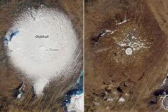 A la izquierda, Okjökull el 7 de septiembre de 1986. A la derecha, el 1 de agosto de 2019. Ambas imágenes fueron tomadas por la NASA. | AFP
