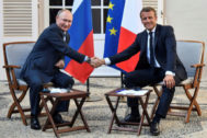 French President Emmanuel <HIT>Macron</HIT> meets with Russia's President Vladimir Putin, at his summer retreat of the Bregancon fortress on the Mediterranean coast, near the village of Bormes-les-Mimosas