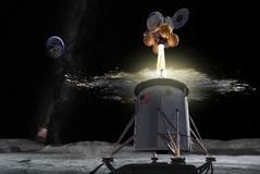 Recreación artística del módulo del programa Artemis, que alunizará en 2024