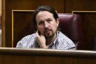 Pablo Iglesias, en su escaño del Congerso el pasado 25 de julio.