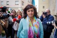 Concha Andreu, candidata del PSOE a presidir La Rioja, este lunes en Logroño.